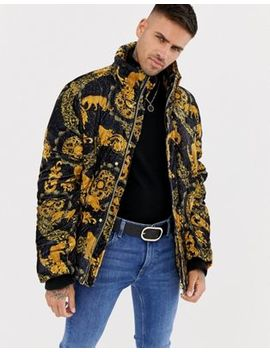 River Island Velvet Puffer Jacket In Gold Baroque Print by River Island