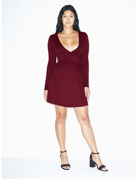 ponte-long-sleeve-wrap-dress by american-apparel