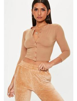 Nude Button Front Crop Top by Missguided