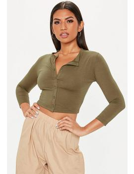 Khaki Button Front Crop Top by Missguided