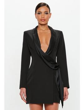 Peace + Love Black Drape Wrap Blazer Dress by Missguided