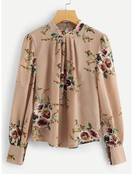 Bishop Sleeve Floral Print Blouse by Shein