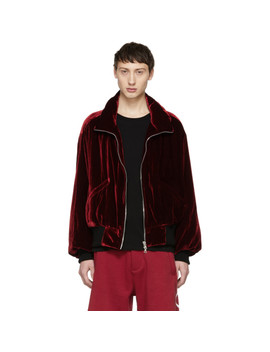 Red Velvet Puff Jacket by Amiri