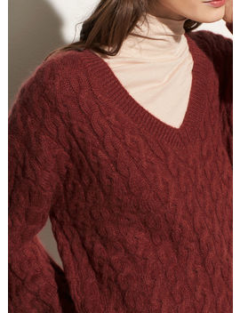 Cable Knit V Neck by Vince