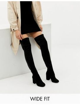 Asos Design Wide Fit Extra Wide Leg Kadi Heeled Over The Knee Boots by Asos Design
