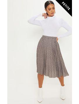 Petite Burgundy Polka Dot Pleated Midi Skirt by Prettylittlething