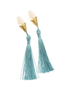 breakfast-at-tiffanys-inspired-tassel-earplugs-in-french-blue by etsy