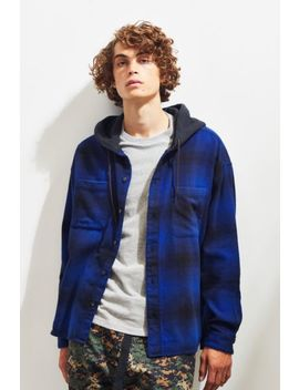 Uo Plaid Hooded Button Down Shirt by Urban Outfitters