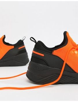 Asos Design Trainers In Orange Mesh by Asos Design