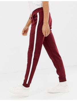 Kiomi Cuffed Tracksuit Bottoms In Burgundy With Side Stripe by Kiomi