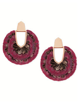 Diane Rose Gold Statement Earrings In Maroon Feathers by Kendra Scott