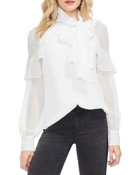 Ruffle Front Metallic Stripe Blouse by Vince Camuto