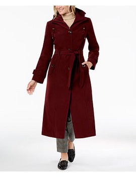 Belted Bib Maxi Trench Coat by London Fog