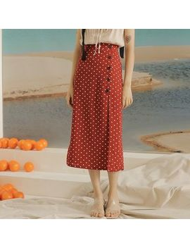 Sincethen   Dotted Button Midi Skirt by Sincethen