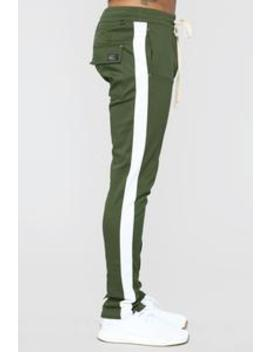 Travis Twill Joggers   Olive/White by Fashion Nova