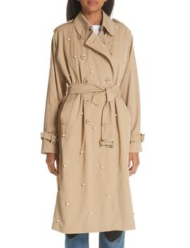 Imitation Pearl Embellished Trench Coat by Tu Es Mon TrÉsor