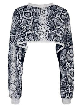 Snake Box Crop Knitted Jumper by Boohoo