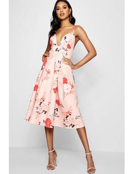 Floral Scuba Frill Skirt Midi Skater Dress by Boohoo