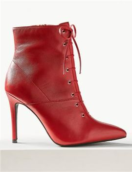 Leather Stiletto Heel Side Zip Ankle Boots by Marks & Spencer
