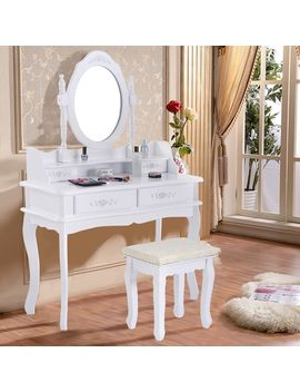 Costway White Vanity Jewelry Makeup Dressing Table Set Bathroom W/Stool 4 Drawer Mirror Wood Desk by Generic