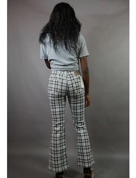 Black &Amp; White Check High Waisted Tartan Flares by Tvc Vintage