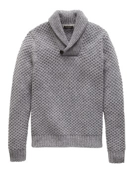 Cashmere Textured Shawl Collar Sweater by Banana Repbulic