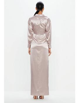 Peace + Love Mauve Satin Maxi Dress by Missguided