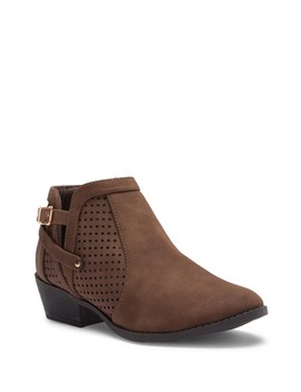 Perforated Ankle Low Heel Bootie by Top Moda