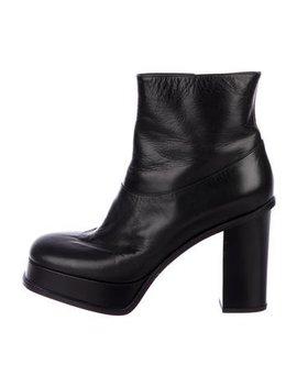 Céline Leather Platform Booties by Céline