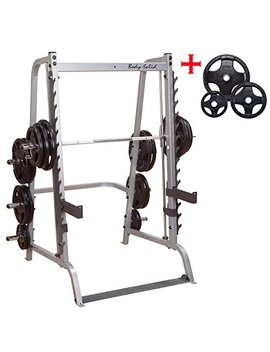 Body Solid Gs348 Q Series 7 Linear Bearing Smith Machine With Olympic Rubber Grip Weight Plates by Body Solid Inc.