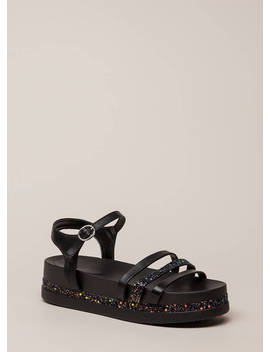 Get Sparkly Strappy Flatform Sandals by Go Jane