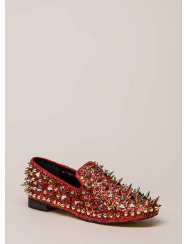 Introvert Spiky Studded Smoking Flats by Go Jane
