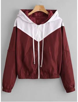 Zaful Zip Up Two Tone Windbreaker Jacket   Red Wine S by Zaful