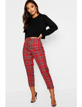 Petite Check Tapered Trouser by Boohoo