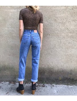 Vintage 80s Levi's 550 Student Fit High Rise Tapered Medium Wash Blue Denim Jeans by Etsy