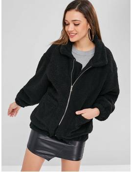 Zip Up Fluffy Winter Coat   Black M by Zaful