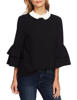 Peter Pan Collar Ruffle Sleeve Blouse by Cece