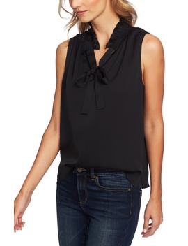 Ruffle Tie Neck Sleeveless Blouse by Cece