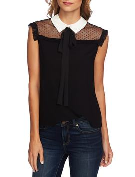 Mixed Media Tie Neck Blouse by Cece