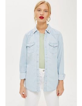Fitted Denim Shirt by Topshop