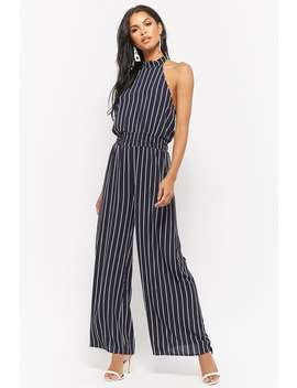 Pinstripe Halter Jumpsuit by Forever 21