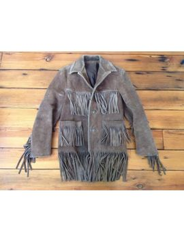 "Vintage Easy Rider Style Distressed Cowboy Suede Leather Fringe Jacket Coat 40"" by Unbranded"