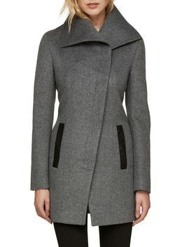 Slim Fit Asymmetrical Wool Blend Coat by Soia & Kyo