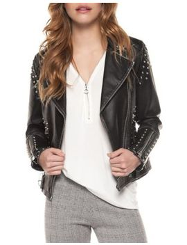 Faux Leather Studded Moto Jacket by Dexed Out