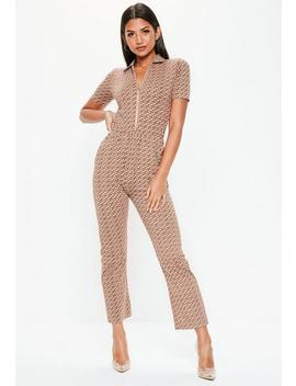 Nude Printed Short Sleeve Zip Jumpsuit by Missguided