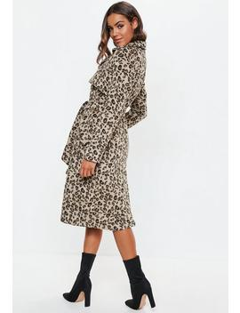 Brown Leopard Belted Faux Wool Trench by Missguided