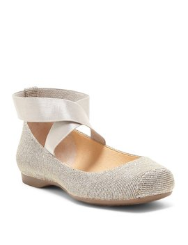 Mandalaye Shimmer Square Toe Criss Cross Ankle Straps Ballet Flats by Jessica Simpson