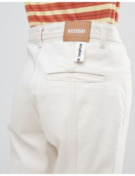 Weekday Limited Collection Mom Jeans With Front Seam And Slit Hem In Organic Cotton by Weekday