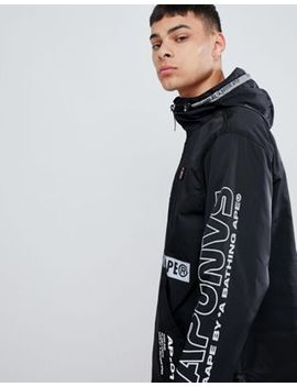 Aape By A Bathing Ape Overhead Jacket With Sleeve Print In Black by Aape By A Bathing Ape