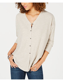 Petite Button Front Thermal Top, Created For Macy's by Style & Co